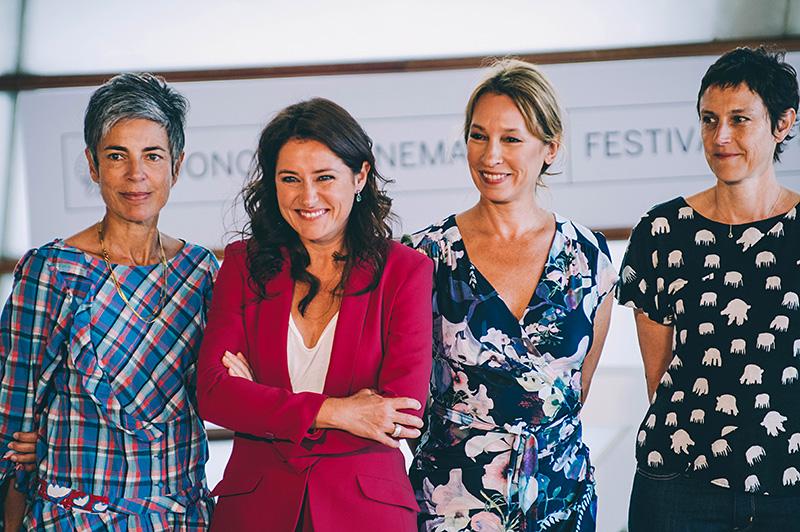 'La fille de Brest': Emmanuelle Bercot, directora y coguionista; Sidse Babbet, protagonista de la película; Caroline  Benjo y Carole Scotta, productoras. // Foto: Santiago Farizano