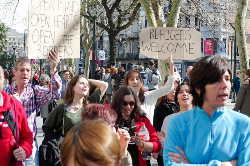 El pasado 26 de febrero también se clamó a favor de los refugiados en Donostia. Foto: Santiago Farizano