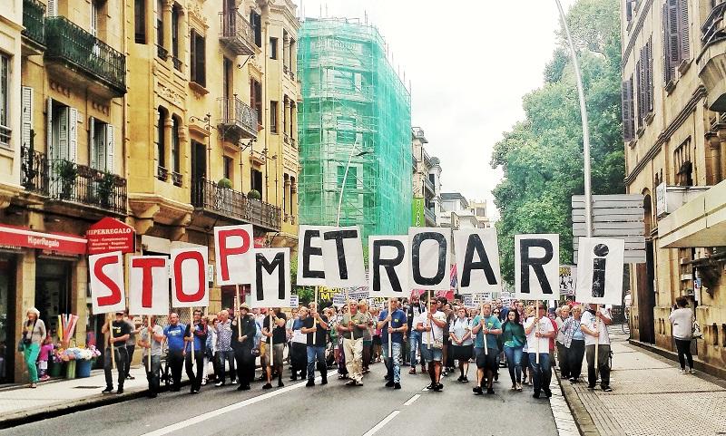 Imagen de una protesta de Satorralaia contra el metro. Foto: Satorralaia