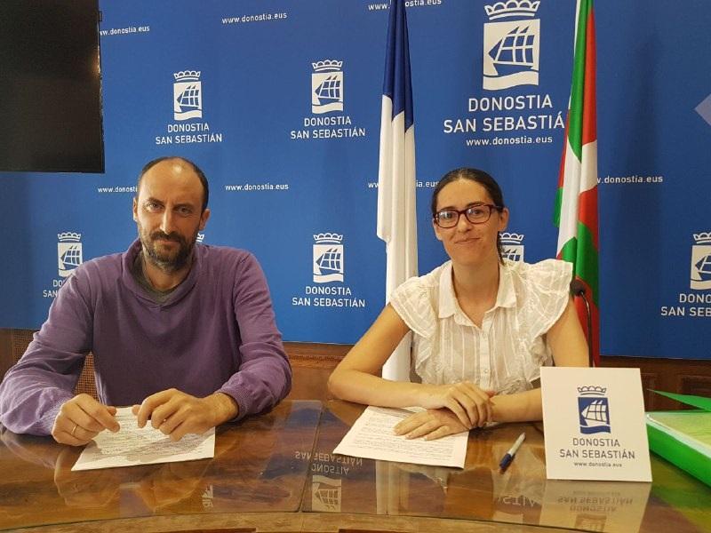 Los concejales Loïc Alejandro y Amaia Martin en una foto de archivo. Foto: Irabazi