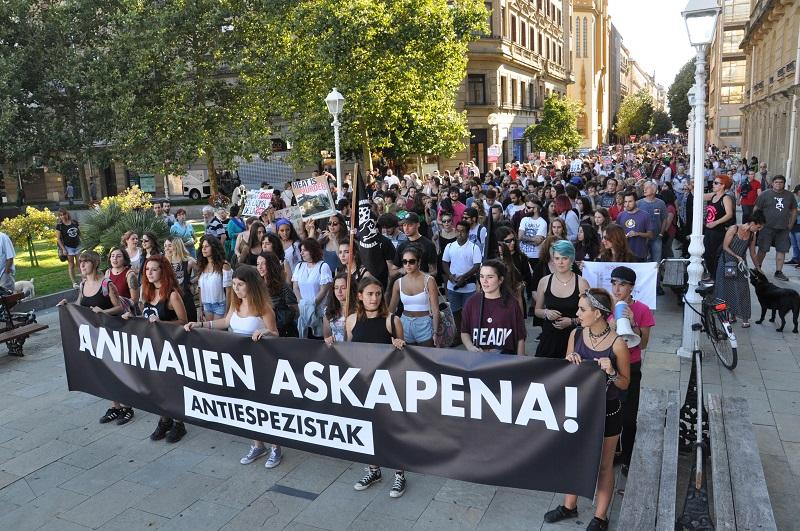 Manifestación antitaurina de Askekintza el pasado año. Foto: Askekintza