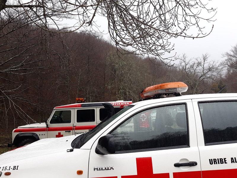 Imagen de la búsqueda de estos días en el Gorbea. Foto: Cruz Roja
