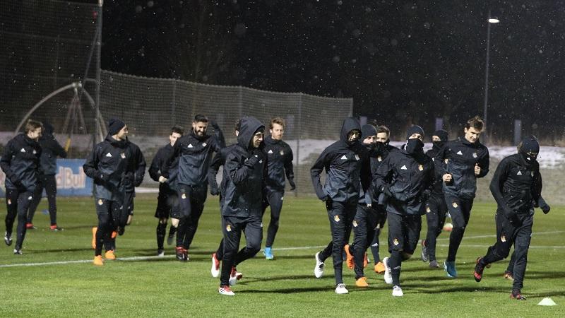 La Real entrena bajo la nieve en Salzburgo. Foto: Real Sociedad