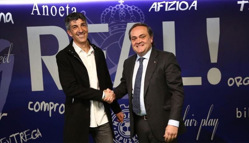 Imanol Alguacil y Jokin Aperribay.  Foto: Real Sociedad