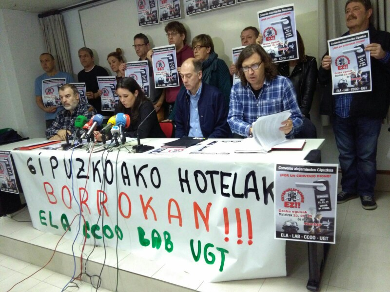 Convocatoria de huelga esta mañana en ELA. Foto: A.E.