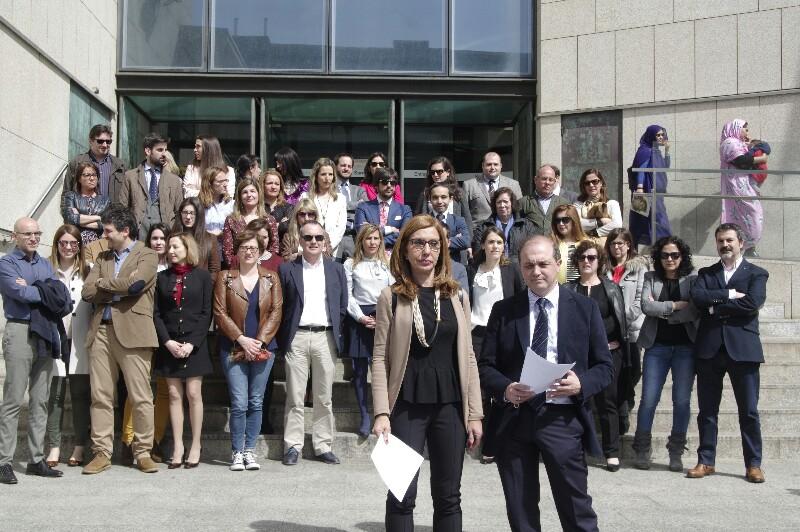Protestas de jueces y magistrados el 5 de abril frente a los juzgados. Foto: Santiago Farizano