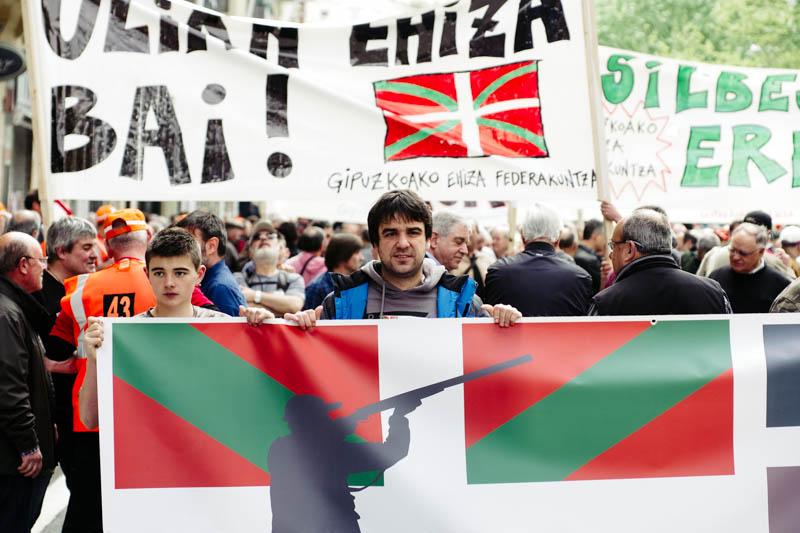 Manifestación de cazadores en abril del año pasado. Foto: Santiago Farizano