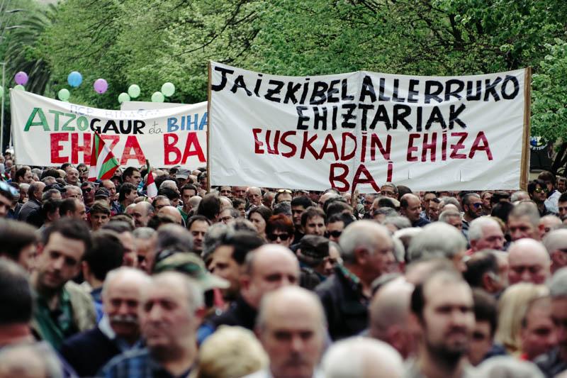 Manifestación de cazadores el abril del año pasado. Foto: Santiago Farizano
