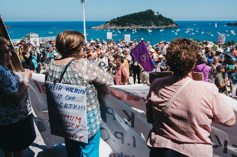 Pensionistas el pasado 23 de julio en el Palacio Miramar. Foto: Santiago Farizano
