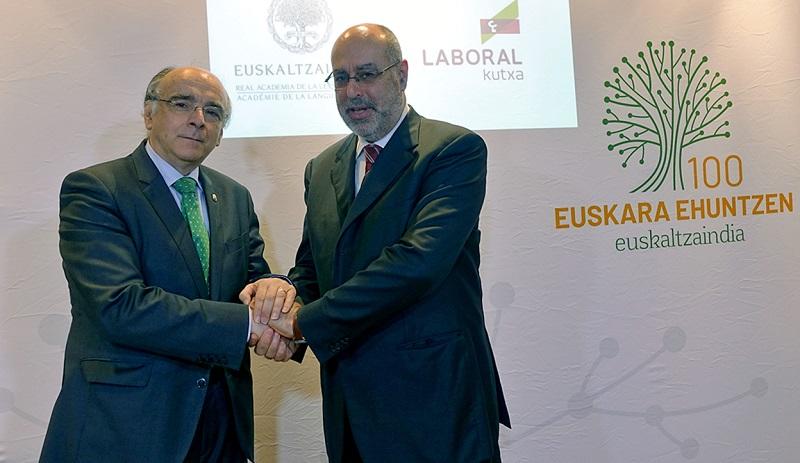 Acuerdo entre Euskaltzaindia y Laboral Kutxa. Foto: Euskaltzaindia