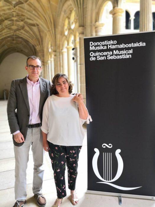 Agurtzane Garay, del Museo San Telmo, y Patrick Alfaya, director de la Quincena Musical. Foto: Quincena Musical
