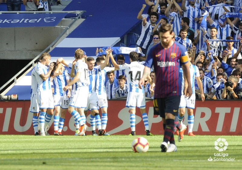 Imagen tras el gol de Aritz. Fotos: LaLiga.es