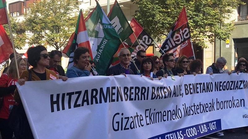 Ha habido manifestaciones en las tres capitales. Foto: UGT/Euskadi