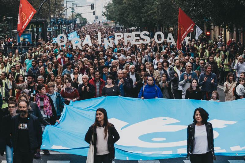 Manifestación pro presos este pasado sábado en Donostia. Foto: Santiago Farizano