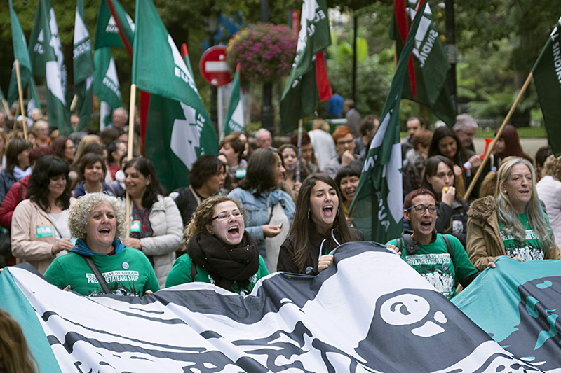 Protesta de las empleadas de las residencias el pasado mes. Foto: Santiago Farizano