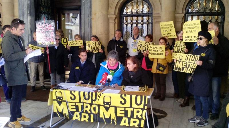 Rueda de prensa de Satorralaia, contra las obras del Metro. Foto: Satorralaia.