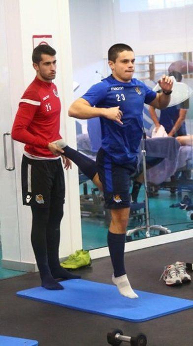 Luca Sangalli, en su vuelta a los entrenamientos de Zubieta tras el percance. Foto: Real Sociedad.