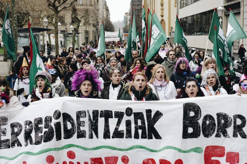 Manifestación de las trabajadoras de las residencias de Gipuzkoa el 31 de diciembre. Foto: Santiago Farizano.