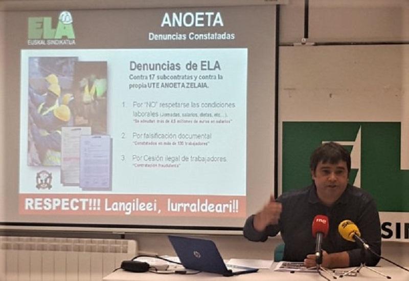 Igor San José, responsable de Construcción de ELA-Gipuzkoa, en la rueda de prensa sobre la remodelación de Anoeta. Foto: ELA.
