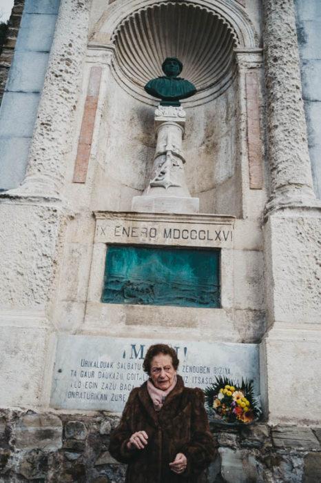 Ana María Zubia, descendiente de Aita Mari, el pescador que perdió su vida salvando a otros hace 153 años. Foto: Santiago Farizano