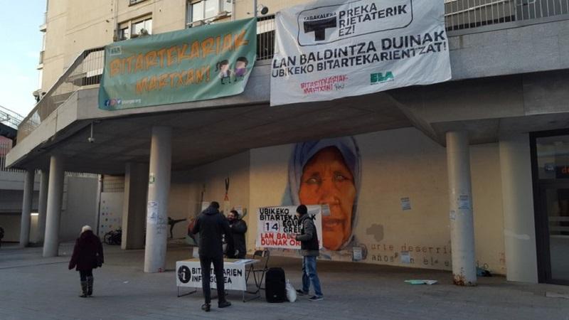 Protestas de los empleados de Ubik. Foto: ELA