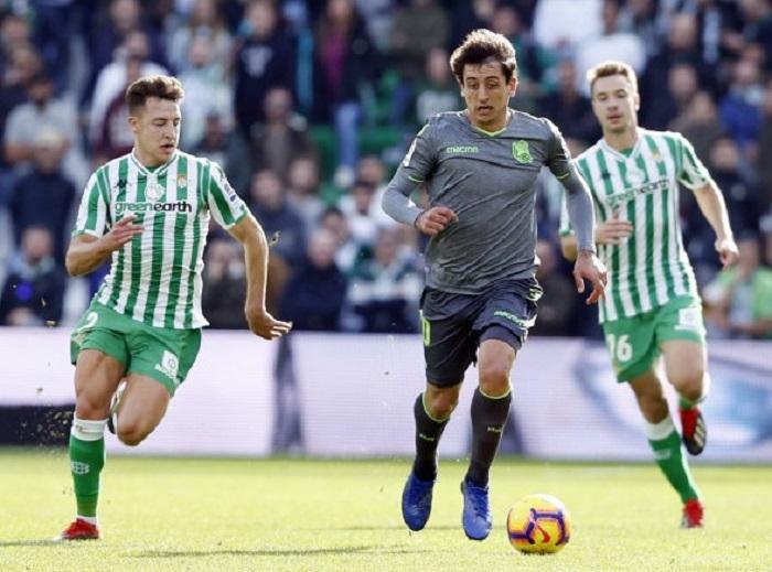 Oyarzabal, en el último Betis-Real Sociedad. Foto: LFP.