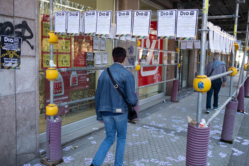 DIA de Eustasio Amilibia (Amara), cerrado el 27 de febrero por la huelga. Foto: Santiago Farizano.