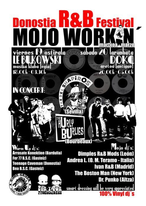 Cartel del primer festival Mojo Workin' (2010); debajo, todos los demás, de más antiguo a más reciente. Imágenes: cortesía Mojo Workin'.