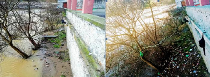 Mismo punto del Oria en Tolosa, antes (derecha) y después (izquierda) de la crecida. Foto: Eguzki.