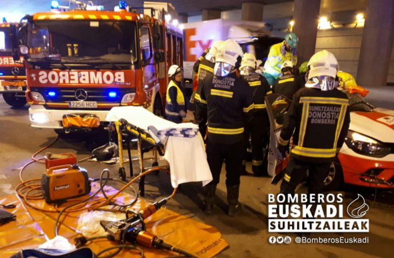 Accidente en Urnieta. Foto: Bomberos de Euskadi