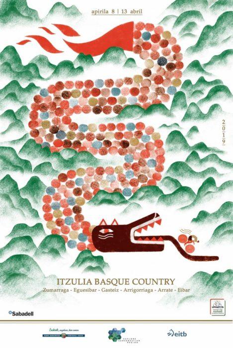 El cartel de la edición 2019 de la Itzulia, obra de Yolanda Mosquera. Foto: Itzulia Basque Country.