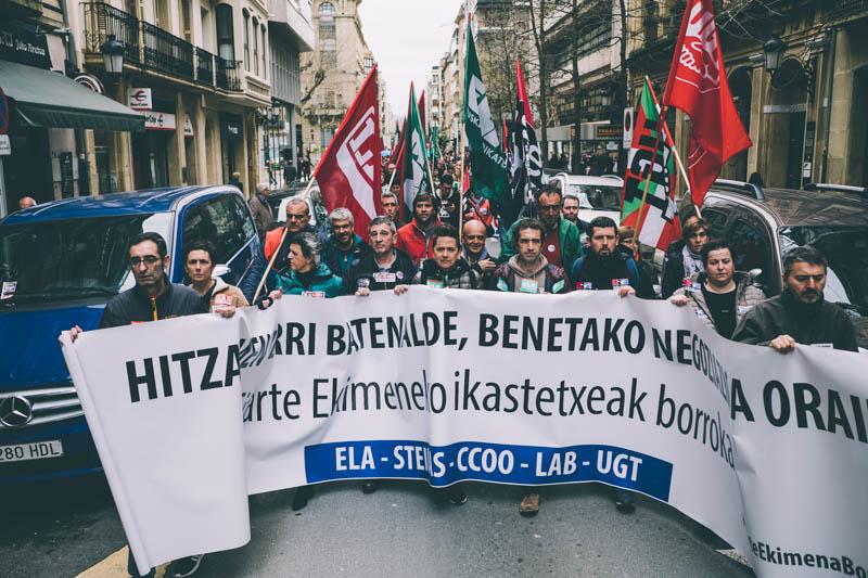 Manifestación de la enseñanza concertada en Donostia el pasado 15 de marzo. Foto: Santiago Farizano
