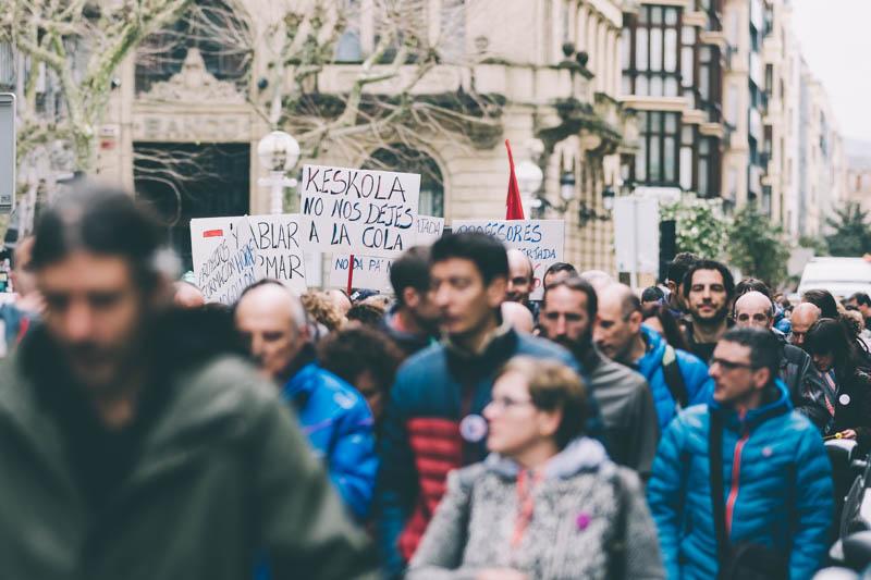 Manifestación de la concertada el pasado 15 de marzo en Donostia. Foto: Santiago Farizano