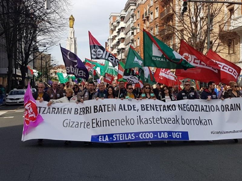 Manifestación de la enseñanza concertada en Bilbao. Foto: ELA