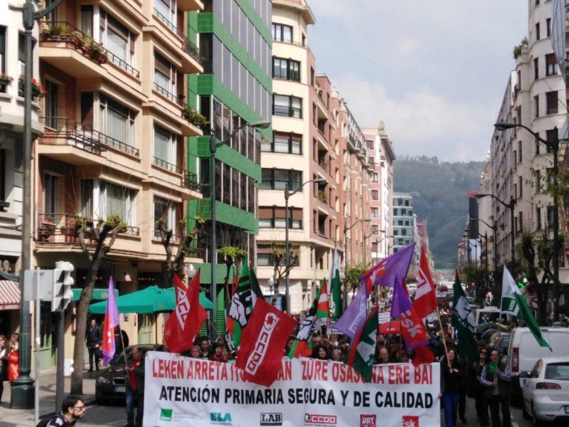 Manifestación en Bilbao durante la huelga de Atención Primaria. Foto: Ela sindikatua