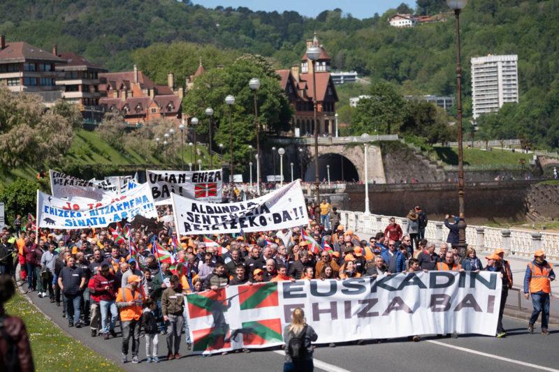 Manifestación de cazadores en Donostia. Fotos: Santiago Farizano