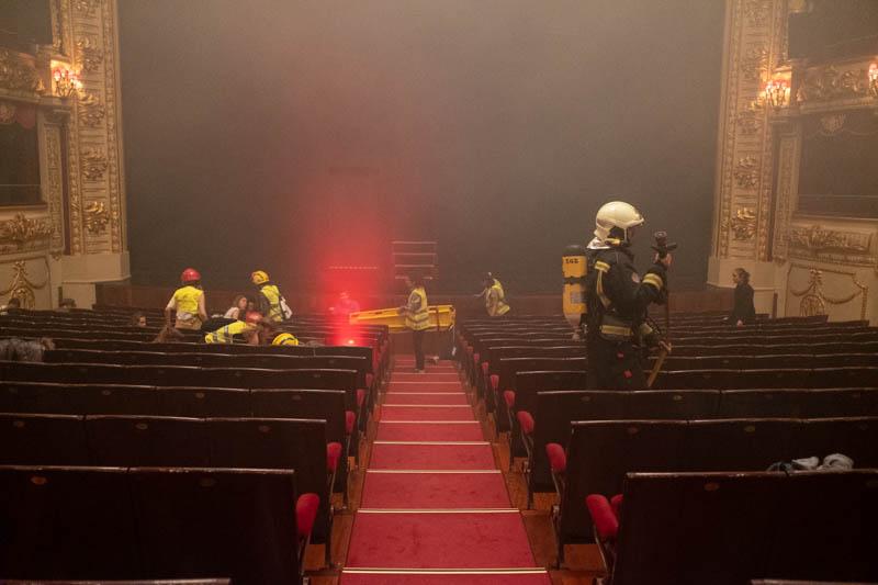 Simulacro de incendio en el teatro Victoria Eugenia. Fotos: Santiago Farizano
