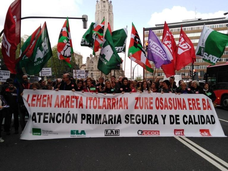 Manifestación de Atención Primaria el 12 de abril en Bilbao que el 17 de este mes será en Donostia. Foto: ELA