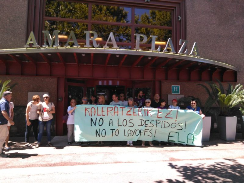 Movilización ante el hotel Amara Plaza. Foto: Sindicato ELA