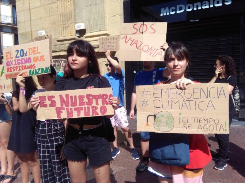 Jóvenes del movimiento 'Fridays for future' reunidos hoy con motivo del incendio del Amazonas. Foto: A.E.