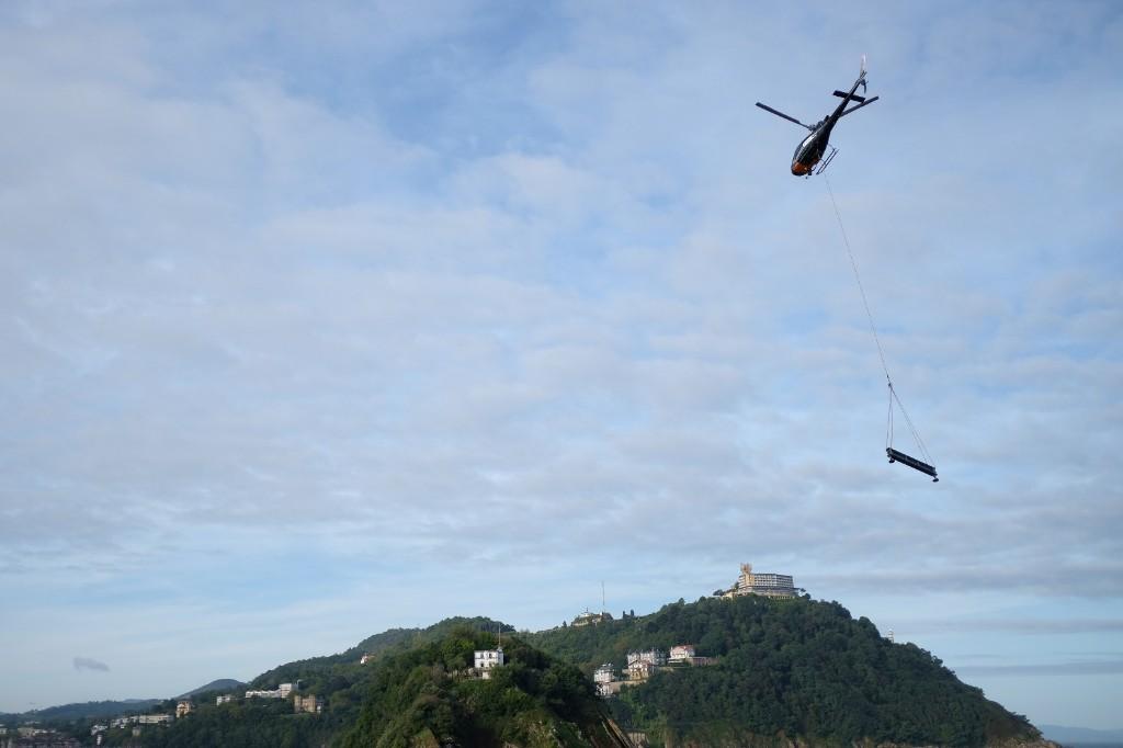 El helicóptero esta mañana. Fotos: Santiago Farizano