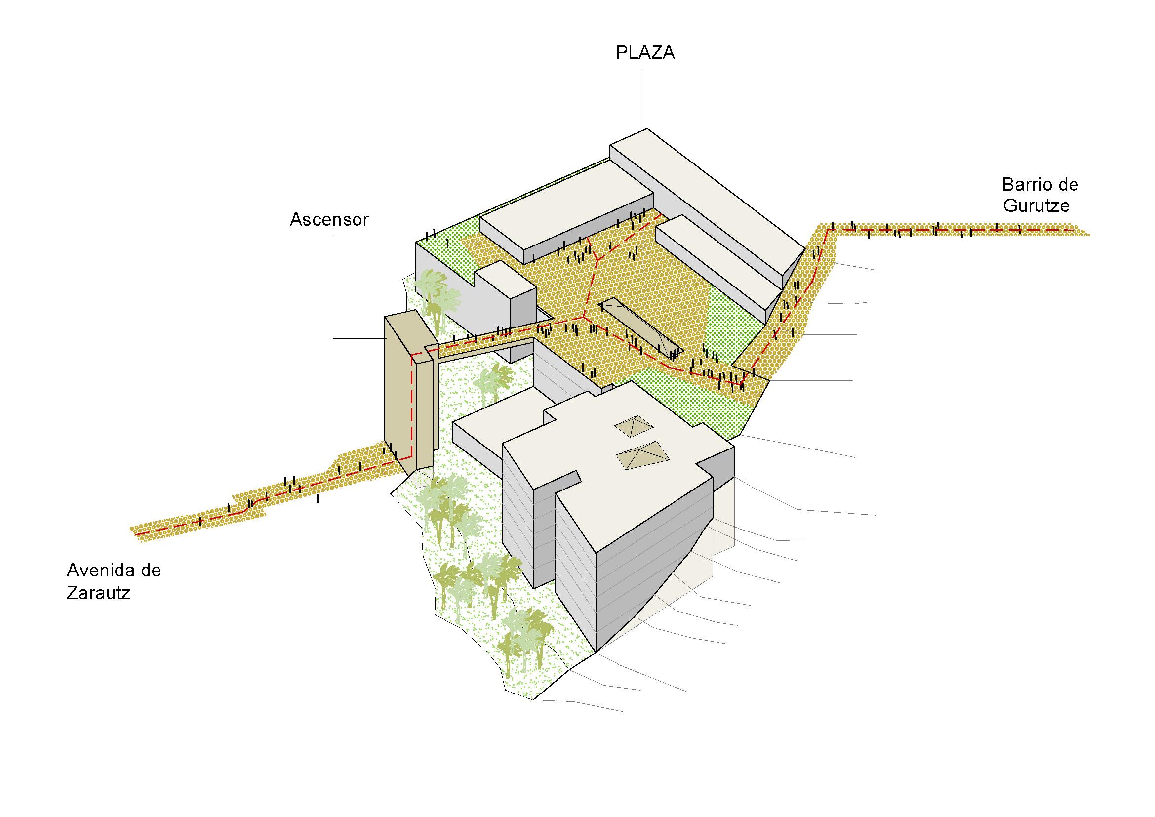 El plano de  la construcción que Matia Fundazioa hará en Lugaritz.