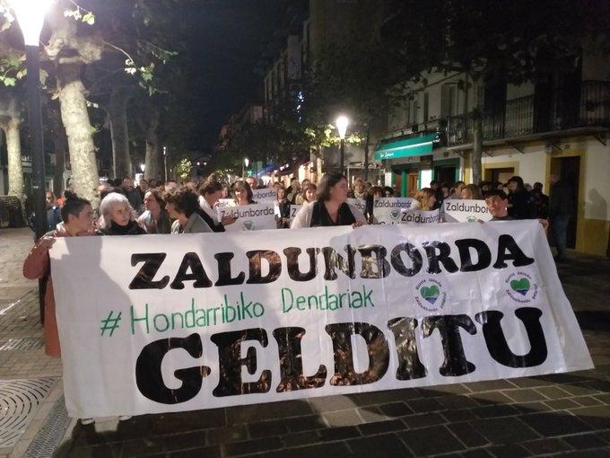 Manifestación contra el proyecto. Foto: Hondarribia Dendak