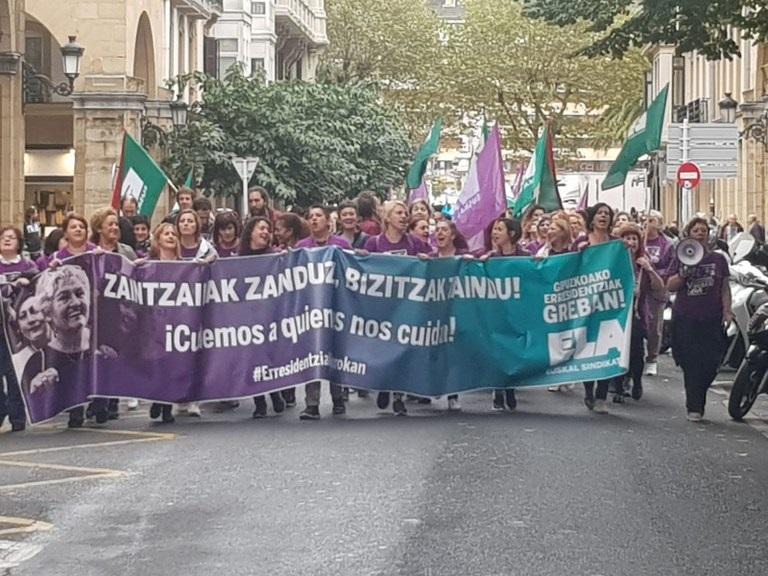 Llegada de las manifestantes a Donostia. Foto: ELA