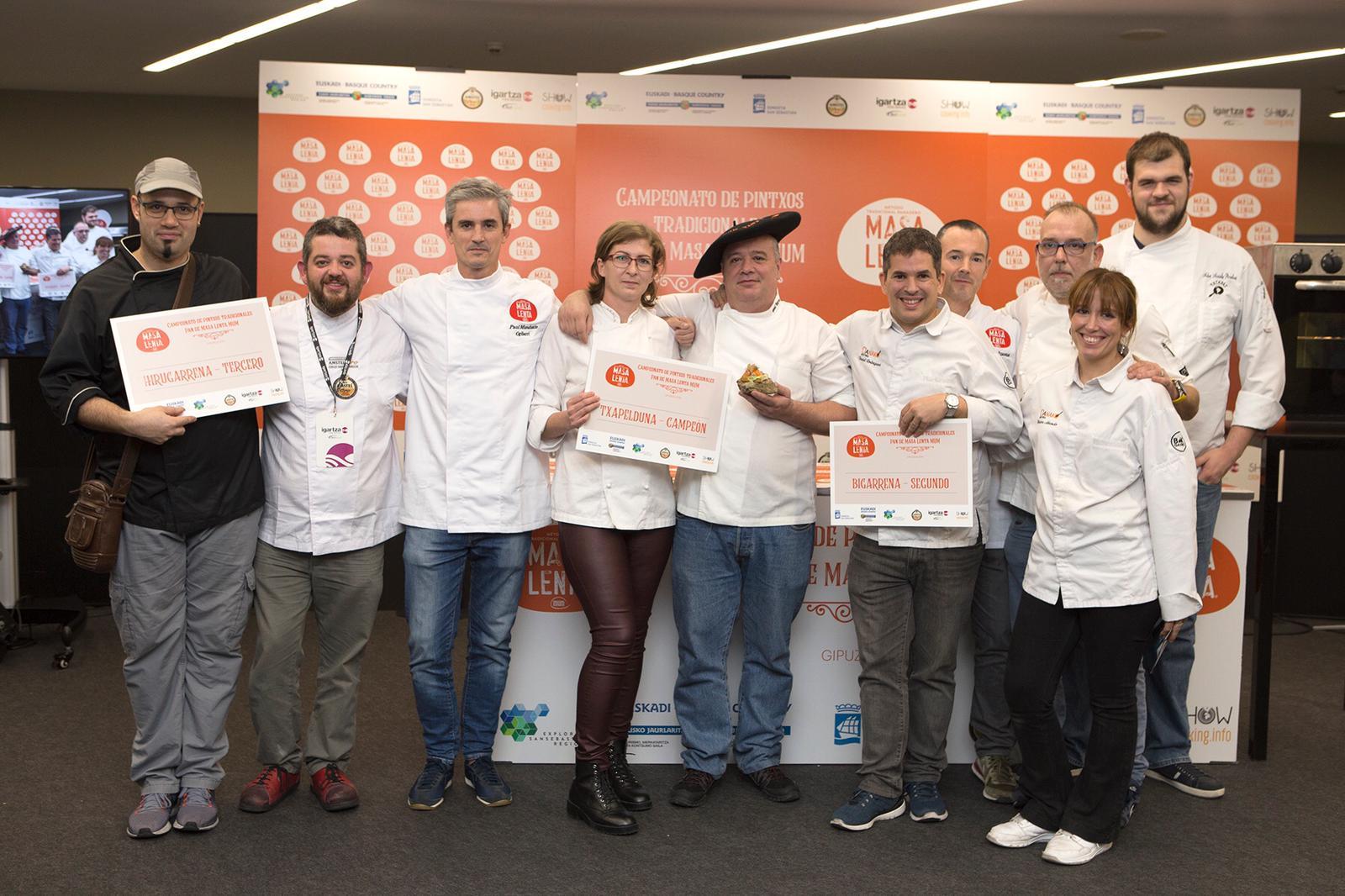 Los ganadores gipuzkoanos del Campeonato de Pintxos Tradicionales Pan de Masa Lenta MUM.