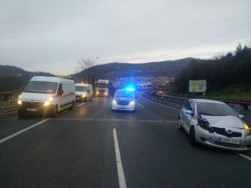 Accidente en la GI-635 a la altura de Pasai Antxoe en enero. Foto: Gabued