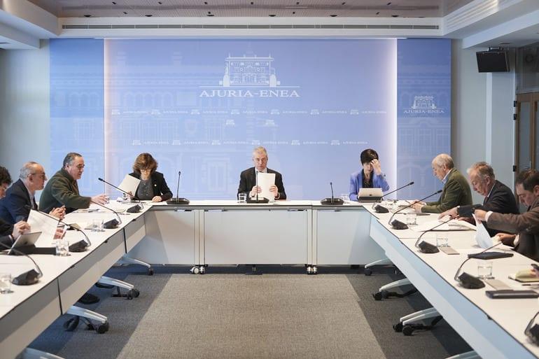 Reunión el 14 de marzo del comité asesor que asiste al Lehendakari como director único del Plan de Protección Civil de Euskadi. Foto: Gobierno vasco