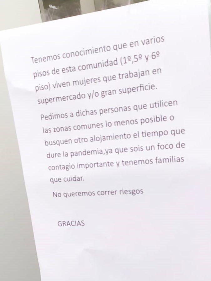 Mensaje en un comunidad de vecinos. Foto: Grupo Uvesco
