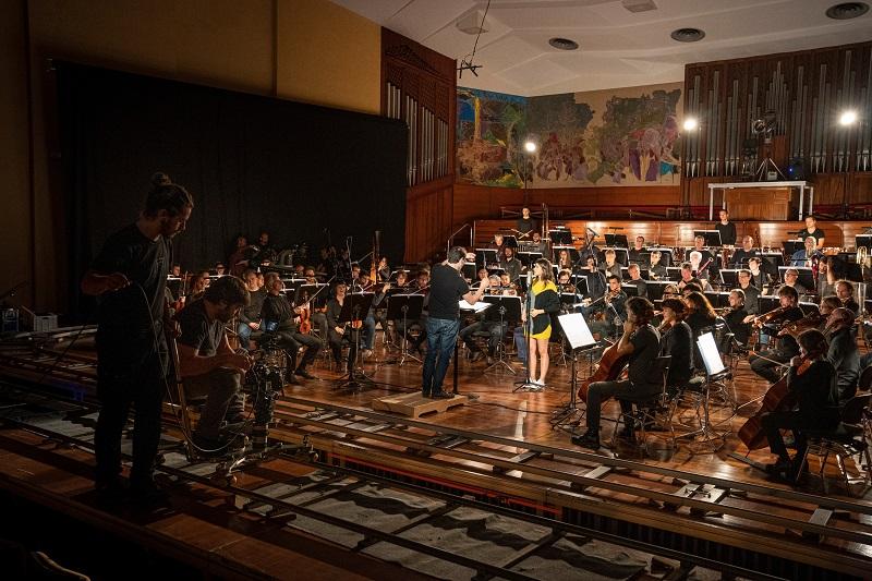 Grabación de los videoclips junto a la Euskadi Orkestra y Fernando Velázquez. Foto: Euskadiko Orkestra
