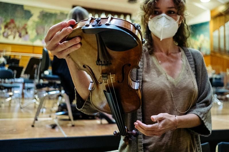 Vuelta a los ensayos, hoy, de la Orquesta Sinfónica de Euskadi. Fotos: Santiago Farizano